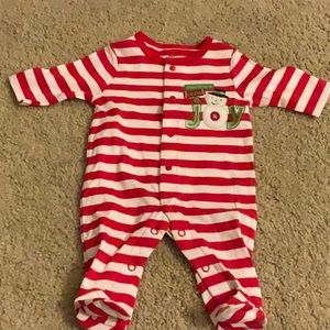 Red and white striped Holiday onesie